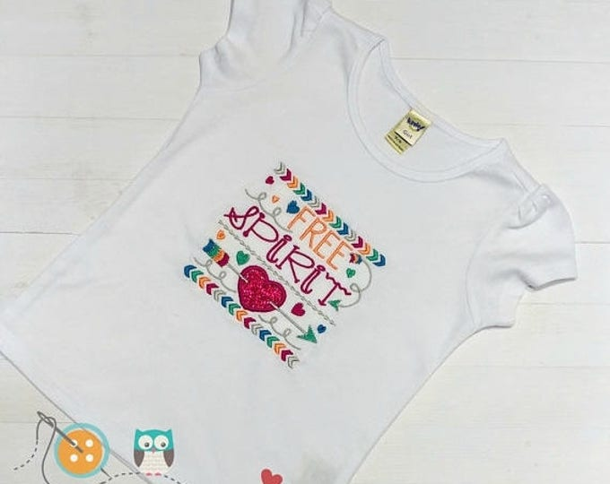 ON SALE NOW Free Spirit embroidered t shirt for girls - hearts and arrow embroidered details- cute tops for toddlers-