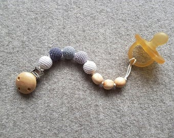 Pacifier Clip in neutral colors, Dummy Chain - Gray/White