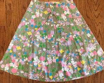 Vintage floral cotton paneled skirt w/drawstring waist-Med