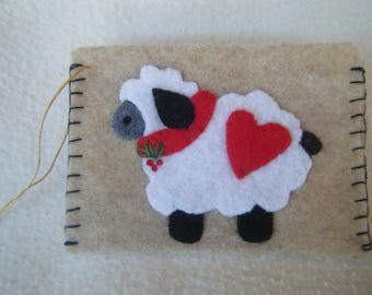 Beige Felt Sheep Envelope Style Christmas Ornament/Gift Card Holder