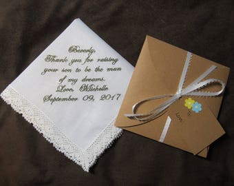 Mother of the Groom - Mother in Law of the Bride - Personalized Wedding Handkerchief With Free Gift Envelope - Shown with Grey Writing