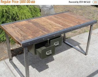 Limited Time Sale 10% OFF 5 ft Industrial Office Desk with Raw Steel Rectangular Legs