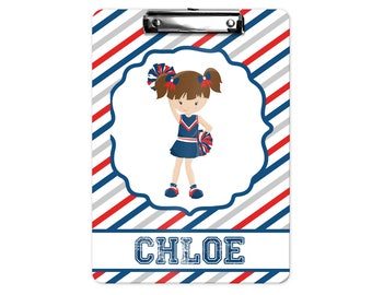 Personalized Kids Clipboard - Cheerleader Blue Red Diagonal Stripes, Single Sided or Double Sided Custom Clipboard Back to School