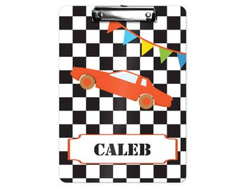 Car Personalized Kids Clipboard - Race Car Black White Checker, Single Sided or Double Sided Custom Clipboard Back to School