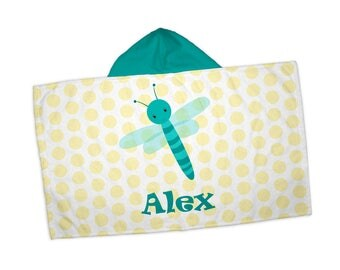 "Personalized Hooded Towel for Kids - Bug Yellow Polka Dot, 24"" x 42"" Hooded Beach Towel"