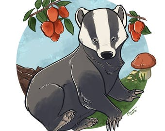 Autumnal Badger Print 8x8