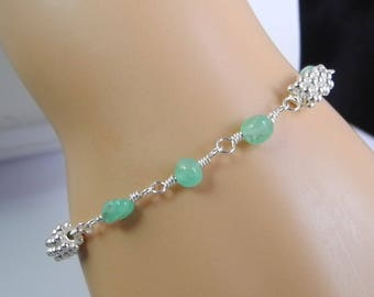Delicate Chrysoprase Bracelet, Apple Green, Green Chrysophrase, Green and Silver Jewelry, Wire Wrapped in Sterling, Mystical Moon Designs