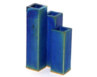 Vintage 80s 90s LA MERS Small Handmade Blue Glazed 3-Compartment Vase Pencil Holder