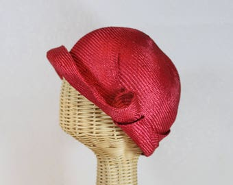 Women's Straw Cloche in Red ~ Miss Fisher~ 1920s glamour, sculptural, Phryne ~ handmade by Bonnet, your local Portland millinery