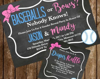 Baseballs Or Bows Gender Reveal Sports Invitation & Diaper Raffle Ticket Download