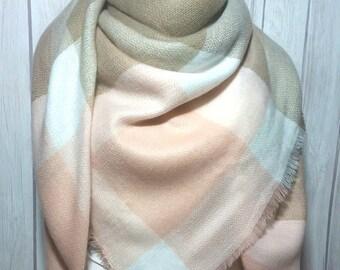 Blanket Scarf, Women, Pink Peach, Taupe Tan Brown, White, Zara Tartan Inspired, Women's Oversized Large Winter Scarves