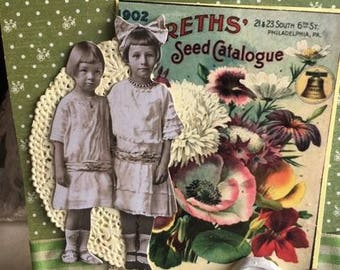 ON RESERVE ~~~ For  R. ~~~~~Vintage Flower Seed ~~~ Friendship~~~ Sisters~~~Birthday~~~~ Card~~~