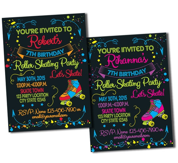Skate Party Invitation 1980s Invitation Neon Party – Roller Skating Birthday Party Invitations