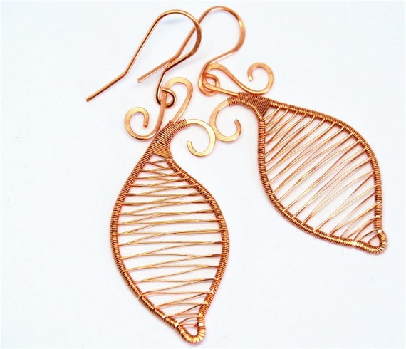 Copper leaf earrings Wire wrapped Everyday Simple Fall Gift for her mother Christmas gift Anniversary gift Wedding jewelry Handmade Cute