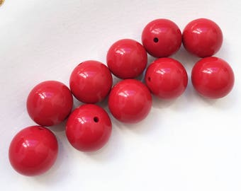 80s vintage acrylic cherry red retro eco friendly bubblegum ball beads--matching lot of 10