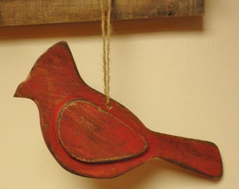 Wood Cardinal Ornament - Made To Order, Cardinal Ornaments, Primitive Christmas Decor, Country Farmhouse Accents