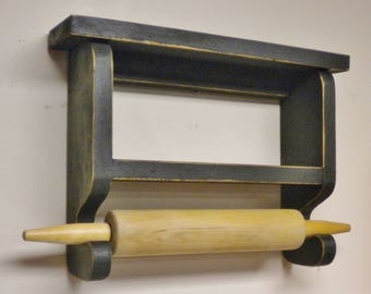Rolling Pin Holder - Made To Order, Rolling Pin Shelf,  Primitive Rolling Pin Wall Rack