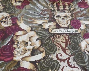 Skullduggery Royal - Vintage Color Deleon Design Group - Alexander Henry Fabric 1 Yard