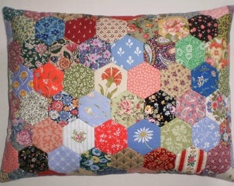 Patchwork Cushion - Hexagons in Vintage Laura Ashley Fabrics
