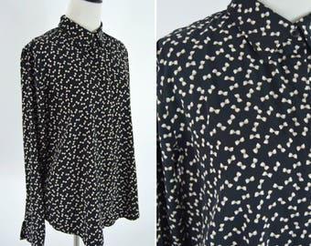 Vintage 80s black Secretary Blouse with Bow Print - Novelty Print blouse - Long Sleeve Button up Top - ladies size medium