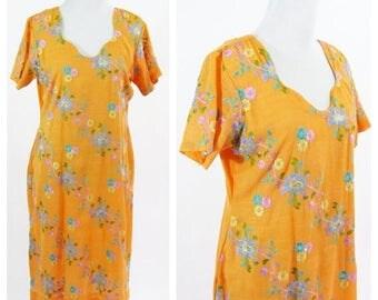 SUMMER SALE Vintage 70's Orange Floral  Embroidered Kurta Tunic Dress - Orange Indian Style Bohemian Kurti  Dress - Hippy Boho Summer Dress-