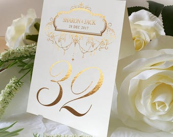 Custom Name Of Wedding Table No. Signs, Golden Print Numbers Double Sided Table Cards, Tented Table Decor, Gorgeous chandelier Style