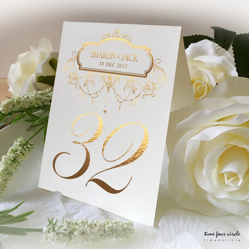 Custom Name Of Wedding Table No. Signs, Golden Print Numbers Double ...