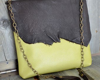 Apple Green & Espresso Brown Leather Side Bag - Cross Body Bag- Soft Leather Purse -Raw Edge - One of a kind - Gifts for Her