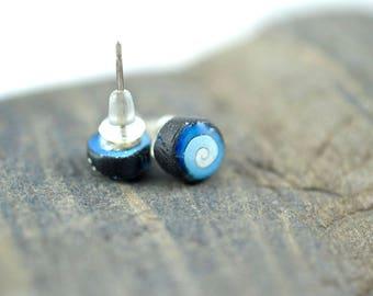 Black and Blue Mini Swirl High Gloss Stud Earrings