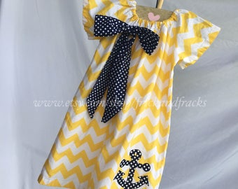 Yellow Chevron Peasant Dress with Navy Bow and Anchor