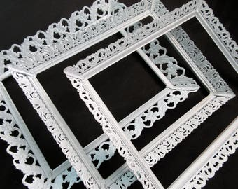 Three White Ornate Picture Frames~Shabby Chic Vintage Metal Filigree Frames~Glass & Easel Backings 8x10~Wedding Cottage Nursery Gallery Wall
