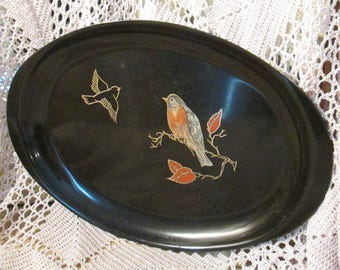 Vintage Couroc Red-Breasted Robin Tray