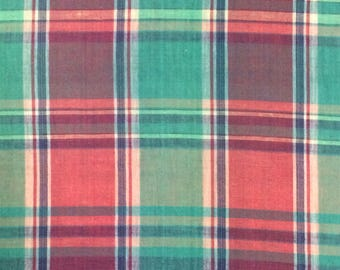 Madras Cotton Fabric / Pink and Green Madras Fabric / Cotton Fabric / Plaid Cotton Fabric / Pink and Green Plaid Fabric / Madras Fabric