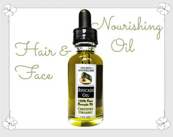 100% Pure Organic AVOCADO Oil For Hair & Face Reduces Dark Spots, Wrinkles - Boosts Collagen, Nourishes Hair.