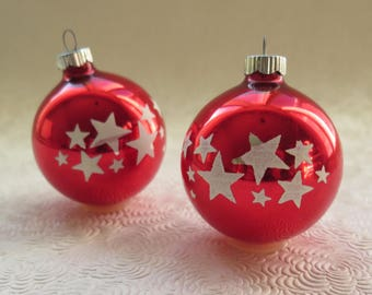 Shiny Brite Star Ornaments Christmas Balls Red Glass White Stars Set of Two Made in USA Mid Century Holiday Decor Christmas Tree Solstice