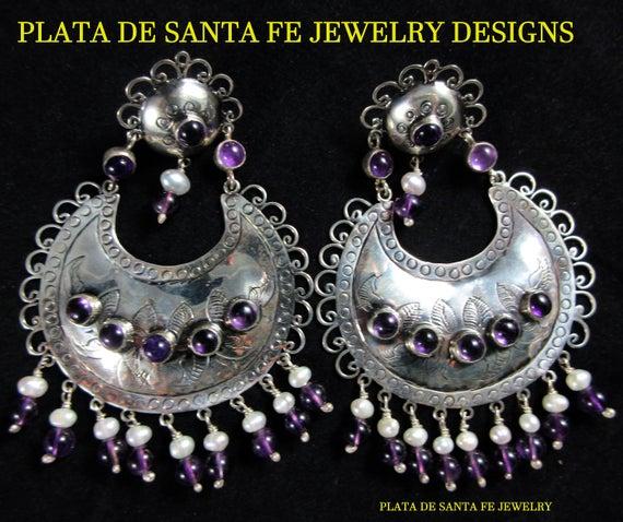 Plata de Santa Fe Designs AmethystPearl HUGE 925 Mexican