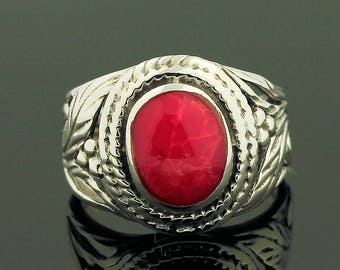 Red Coral Ring // 925 Sterling Silver // Ring Size 5.5 // Handmade Jewelry