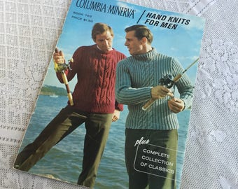 Columbia Minerva Hand Knits for Men Pattern Book / Vintage Sweater Knitting Patterns for Men