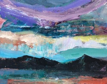 Across the Lake, 12 x 12 inches original acrylic painting, colourful, textured, lake view, landscape painting
