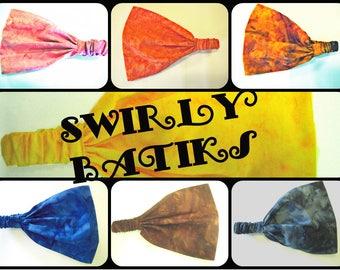 Solid Swirl Batik Wide Headband - by FreCkLes GarDeN – Dreadlock Gypsy Band, Yoga Headwrap Doorag Bandana Kitchen, Hippy Music Festival