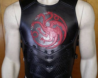 Leather Armor Dragon Scale chest & back with graphic