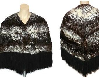 Vintage Fur Cape 1960s Soft Curly Goat Fur Cape Wrap Shoulder Cape Great Spotted Pattern Long Fringe Unique Must See! M L