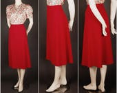 30s 40s crepe skirt with lining red size S UK 10 12 art deco 1930 1940 repro