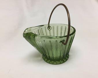 green glass coal bucket or coal scuttle ashtray