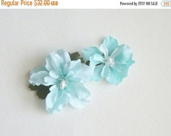 SUMMER SALE Light Blue Flower Hair Clips Blue Light Blue Natural Flower Hair Clips Rustic Wedding Accessories Bridal Party Wedding Set Of Tw