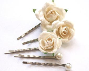 SUMMER SALE SAMPLE Sale White Flower Bobby Pins Set Of Five Antique Silver Pure Soft White Flower Hair Accessories For Wedding Vintage Simpl