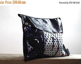 ON SALE Up-cycled Leather Clutch -  Women's Leather Clutch - Leather Clutches - OOAK Leather Clutch - Printed Leather Clutch