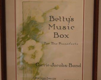 Antique Sheet Music 1917 Framed Betty's Music Box Carrie Jacobs Bond The Boston Music Co