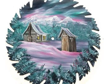 Hand Painted Saw Blade Mountain Winter Northern Lights Cabin and Outhouse