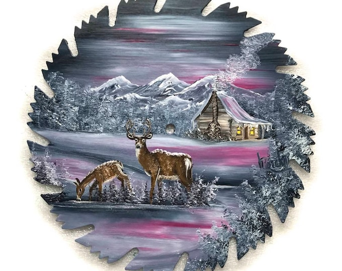 Hand Painted Saw Blade Mountain Winter Pink and Grey Cabin and Deer